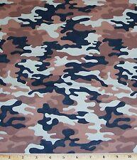 "Kickin Camo Brown Fabric 24"" Remnant Desert 100% Cotton Quilt Sew Camouflage"