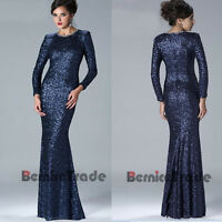 New Sequins Long Sleeves Mother Of The Bride Dresses Muslim Formal Evening Gown