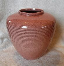 Art Deco Red Wing Pottery Gloss Zephyr Pink Fleck Textura Line Indian Vase  1583
