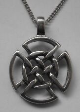 Chain Necklace #1368 Pewter CELTIC KNOT CIRCLE (38mm x 28mm)