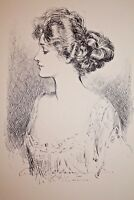 GIBSON GIRL 1909 COLLIER'S MAGAZINE ARTISTS' PROOF No. 4 H.R.H.