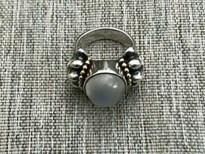 LAGOS Caviar Two Tone Silver 18K Gold and Moonstone Statement Ring Size 7