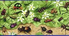 Realistic Garden Bugs and Flower on Green Tan Kids Boys Room Wallpaper Border