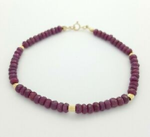 Ladies Bracelet 14ct (585, 14K) Yellow Gold Natural Ruby Round Beaded Bracelet