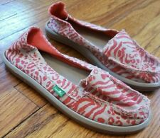 Sanuk Shoes Slip On Salmon Red Beige Womens Size US 6 EU 37 Flats Boat Loafers