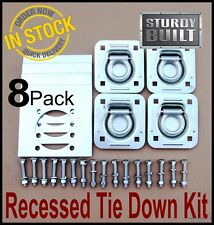 8x Recessed Tie Down D Ring Cargo Quad Trailer Van Anchor Truck Container Plate
