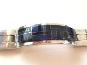 Hefty 116g Sterling Silver Vintage Taxco Mexico Onyx & Lapis Inlay Mens Bracelet