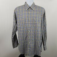 Peter Millar Mens Blue Brown Tattershall Check L/S Dress Button Shirt Sz Large L