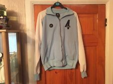 ADIDAS LIGHT BLUE AND WHITE TRACK JACKET SMALL