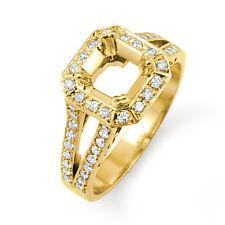 0.50Ct Cushion Setting Round Diamond VS1 Engagement Ring 14k Gold Yellow Natural