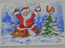 WATERCOLOR PAINTING HAND PAINTED POSTCARD WINTER SANTA SNOW ROOSTER Christmas