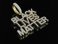 Men's Yellow Gold Finish Black Lives Matter Genuine Diamond Pendant Charm .75ct