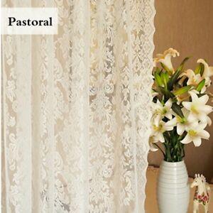 Baroque Lace Voile Curtain Panel Floral Net Window Drape Divider White Pastoral