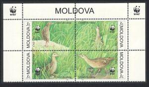 Moldova Endangered Species Corncrake Bird 4v Top Block of 4 WWF Logo 2001