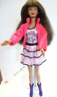 Barbie doll brown long hair Pink skirt & top & pink coat & Purple boots