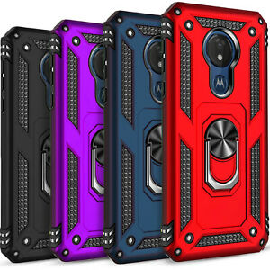 For Moto G7 Plus / G7 Power / Play Case Kickstand + Tempered Glass Protector