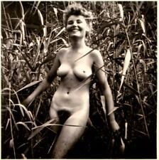 French stereo photo - 1940s nudism Woman in the Tall Grass