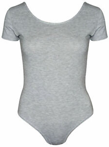 Womens Cap Short Sleeve Plain Round Neck Stretch Leotard Bodysuit UK Size