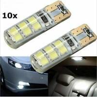 10pcs W5W T10 Cold White LED 12 SMD Car Light Plate Interior Lamp Bulb 12V