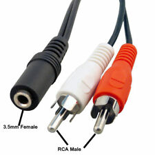 3.5mm Stereo Jack Female Socket to 2 Phono Male RCA Plugs Cable Audio Adapter