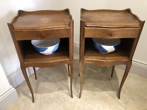 Pair Vintage French Cherrywood Bedside Table Unit chest drawers Night Stand