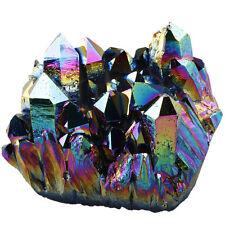 Rainbow Titanium Coated Natural Crystal Quartz Cluster Geode Gemstone Figurine