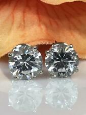 8 MM Round 4-Prong Big Solitaire Moissanite Stud Earrings Fine 14k White Gold GP