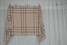 Burberry plaid scarf shawl 30 x 72 cashmere plaid beige pink blue