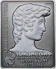 Cook Islands 2010 Michaelangelo David Statue $5 Silver Genuine Real Marble