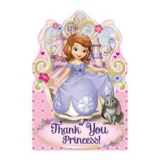 8 Disney Sofia The First Childrens Birthday Party Thank You cards Plus Envelopes