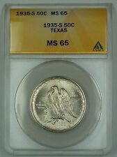 1935-S Texas Silver Commemorative Half Dollar ANACS MS-65 Lightly Toned