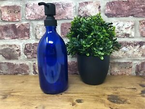 500ml | Blue Glass Dispenser Bottle with different Colour Pump