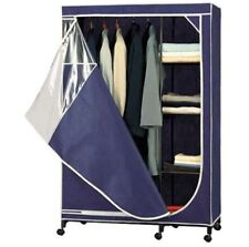 Storage Armoire With Shelves Wardrobe Organizer Closet Portable Hanging  Blue