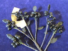 "Vintage Millinery Flower 3/8"" Berry Black Glossy Cluster for Hat + Hair KH8B"
