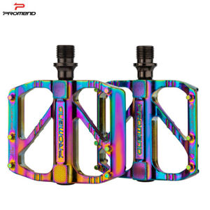 Mountain Road Bicycle Aluminum Alloy MTB Pedals Flat Platform Pedal Iridescence