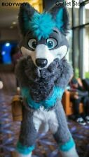 Gray Long Fur Husky Fox Dog Furry Mascot Costume Cosplay Dress Outfit Fursuit