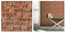 Arthouse Urban Brick Red Wall Weathered Brown Wallpaper, 696600 SAMPLE ONLY