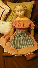 "Antique 1880 Rare Gl Label Doll 26"" German Papier Mache Detail Hairdo,All Orig"