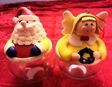 2 Vintage CHRISTMAS Ornaments - Candy/Treat holders  -  Santa Claus & Angel