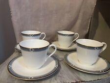 """4 sets of M&S St Michael Fine Bone China """"Felsham"""" Tea Cups & Saucers"""