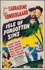 "Poster Isle of Forgotten Sins 1943 27""x41"" FN+ 6.5 John Carradine"