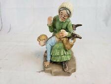 Flambro Porcelain Figurine Old Woman Disciplining Child Pt2