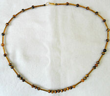 """23.5"""" necklace, plated Hematite + 6mm Tigers eye beads"""