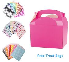 5 Pink Birthday Party Food Box Meal Lunch boxes & Free Paper Candy Cake Bags