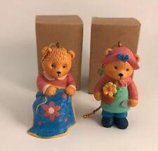 Set of 2 Avon Christmas Ornaments Hobby Bear Sewing & Gardening 1996 Nib