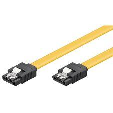 SATA-Kabel 30cm lang beidseitig SATA III Stecker mit Clip gelb 0,3m