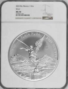 2021 Mo Mexico 1 Kilo Kilogram Silver Libertad NGC MS 70 Mintage of 500