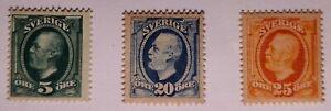 Sweden 1891 & 1911 Fine MM.  1891 5o, 1911 (No watermark) 20o and 25o. €80.