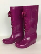 Dirty Laundry Rainstorm Tall Rain Boot Size 7 Hot Pink Purple Lace Up Wedge Heel