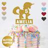 Personalised Custom Glitter Cake Topper, Unicorn Girls Childrens Birthday Party